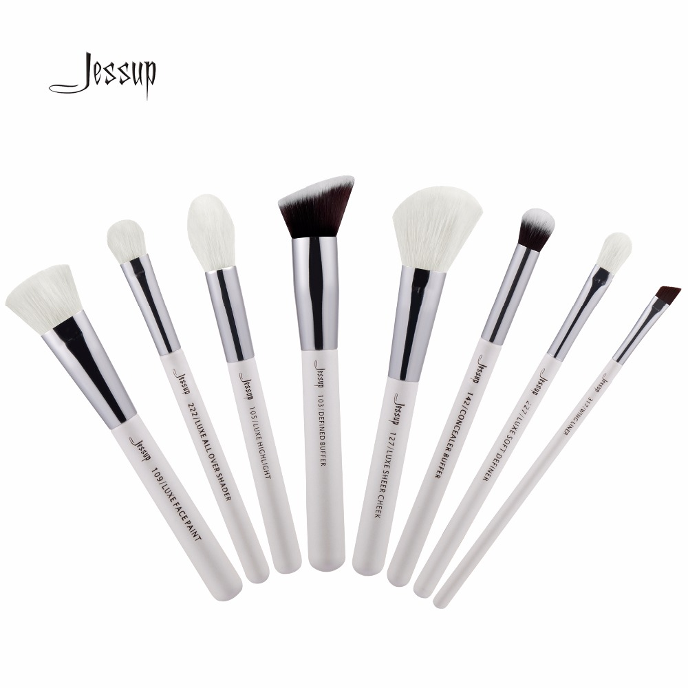 Jessup Brushes 8pcs Professional Makeup Brushes Set Makeup Brush Tools kit Buffer Paint Cheek Highlight Shader line T239 147 pcs portable professional watch repair tool kit set solid hammer spring bar remover watchmaker tools watch adjustment