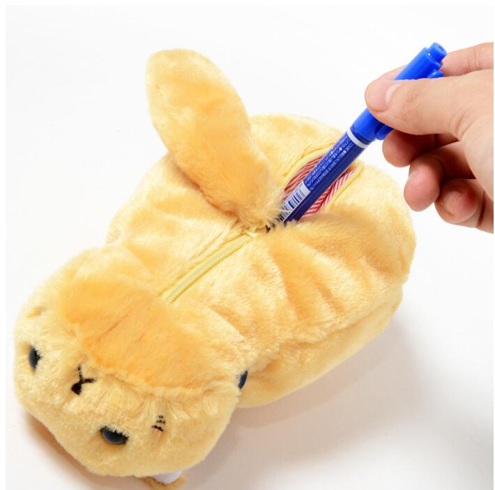 Cute Cat Shaped Plush Pen Case