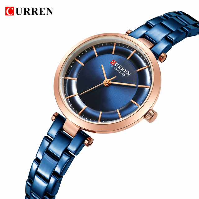 CURREN Women Watches Luxury Metal Bracelet Wristwatch Classy Fashion Quartz Clock Blue Female Stainless Steel Dress Watch Accessories Jewellery & Watches