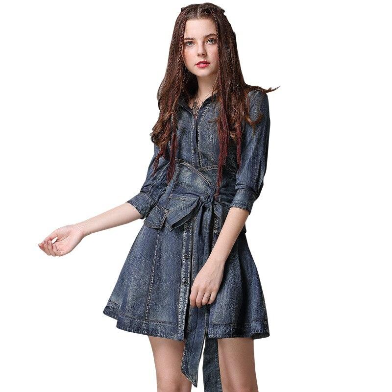 Makuluya femmes Sexy Vintage Denim robes revers col rabattu ceintures robes Indie Folk Punk Style femme fille dame printemps QW