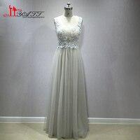 LIYATT 2018 Grey Lace Sexy See Through Beading Long Formal Evening Prom Dresses Cheap Elegant Custom