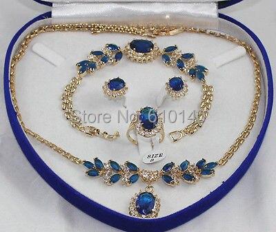 Красивый Голубой цирконий серьги браслета ring8 ожерелье
