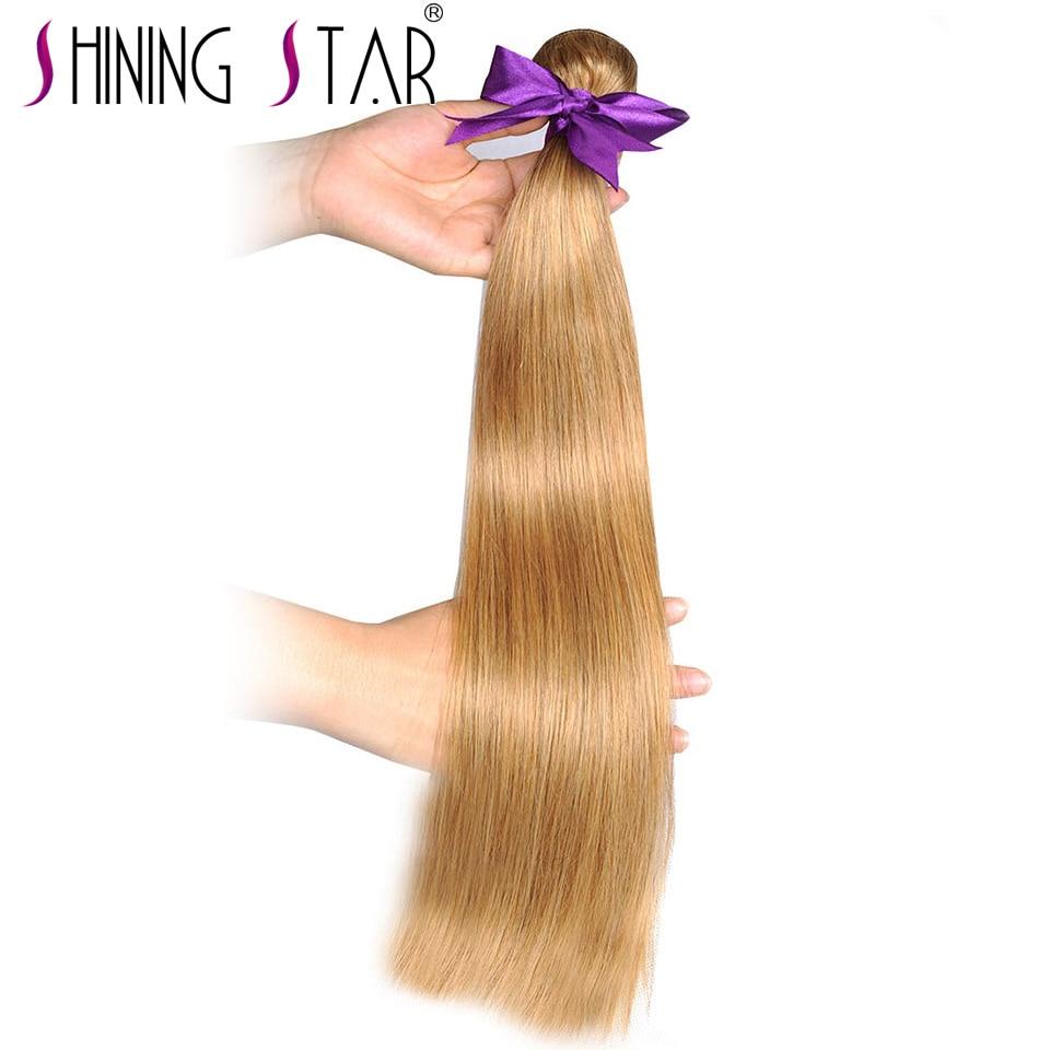 Honig Blonde Bundles Farbige 27 Gerade Menschliche Haarwebart Bundles Blonde Peruanische Haar Verlängerung Glänzende Stern Dicke Schuss Nonremy Echthaarverlängerungen