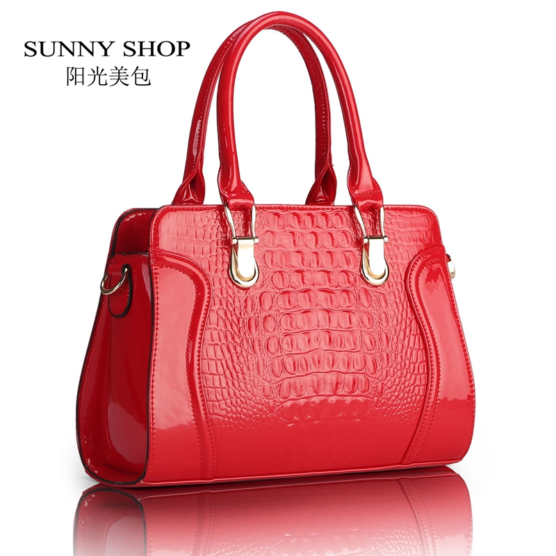 SUNNY SHOP Fashion alligator pattern handbag  patent PU leather casual shoulder bag women  designer  messenger bag