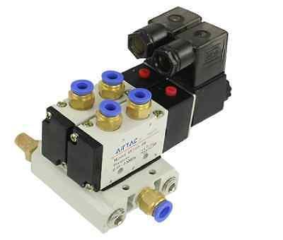 Baomain DC 12V 2 Positions Twin Solenoid Valve Base Muffler Quick Fittings Set dc 12v 3w 2 positions 5 way magnetic solenoid valve 4v210 08