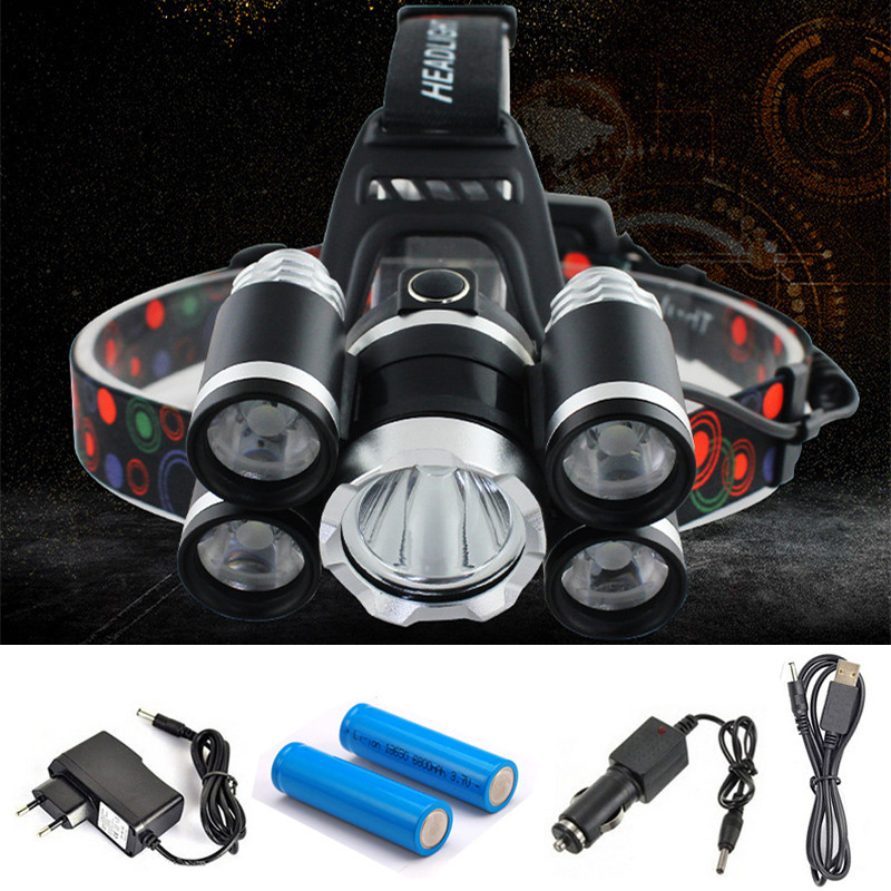 Headlight 40000 Lumen headlamp 5CREE XML T6+Q5 LED Head Lamp Flashlight Torch Lanterna head light with battery AC/DC charger rechargeable cree xml t6 2000lumens zoom head lamp torch led headlamp 18650 battery headlight flashlight lantern night fishing