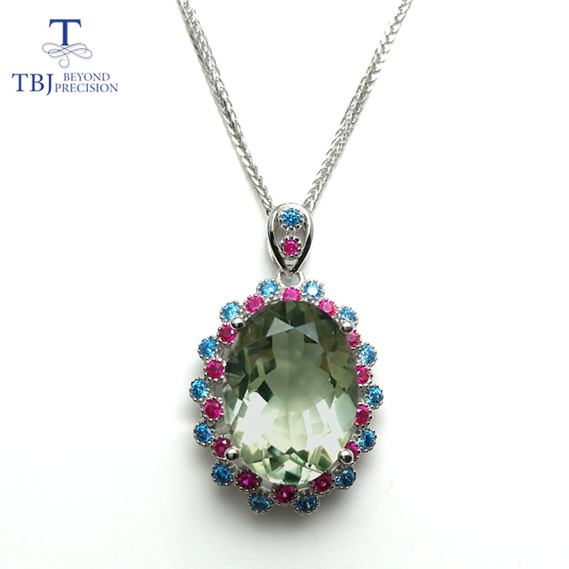 TBJ,925 sterling silver big size pendant with natural green amethyst gemstone multi color necklace for women & girls as a gift marulong s0002 women s fashionable flower pattern short sleeved nightdress green multi color