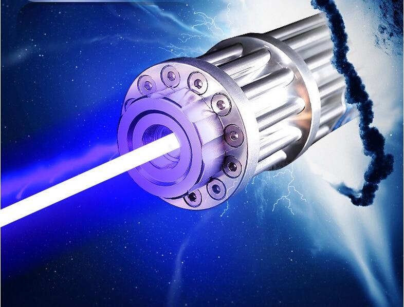 HOT! alta Potência 1000000 m visão Azul Ponteiros Laser 450nm Lazer Lanterna Fósforo Aceso/Queimar charutos luz/vela/Caça preto