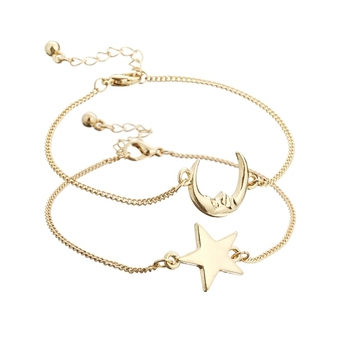 Timlee B096 New Moon Face and Star Alloy bracelets gift for friend,jewelry wholesale 1
