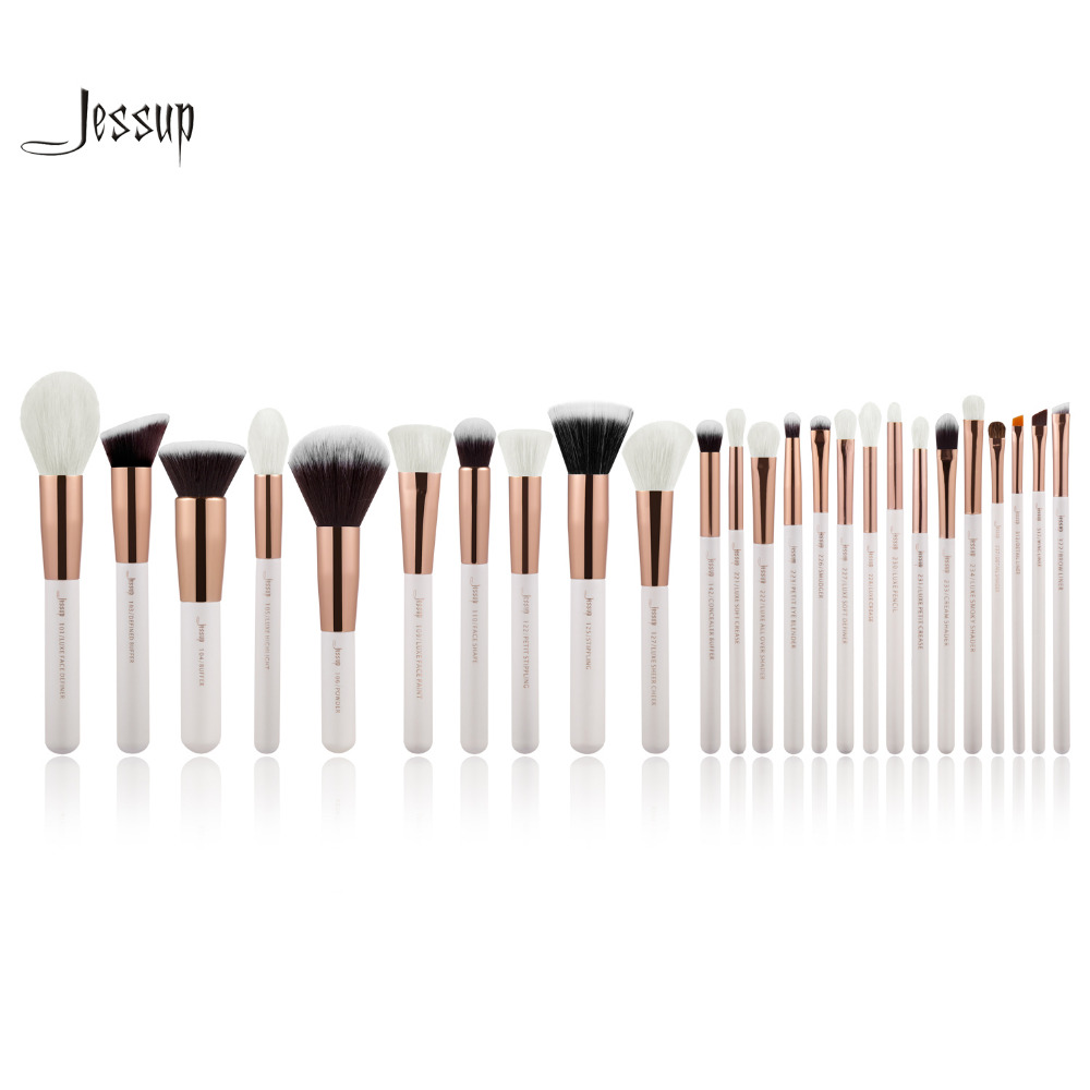Jessup Pearl White/Rose Gold Professional Makeup Brushes Set Make up Brush Tools kit Foundation Powder Blushes цены онлайн