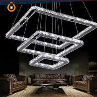 Ceia fina K9 Moderno Cristal LEVOU luz pingente luminária home deco sala de jantar quadrado dimable lâmpada pingente de aço inoxidável
