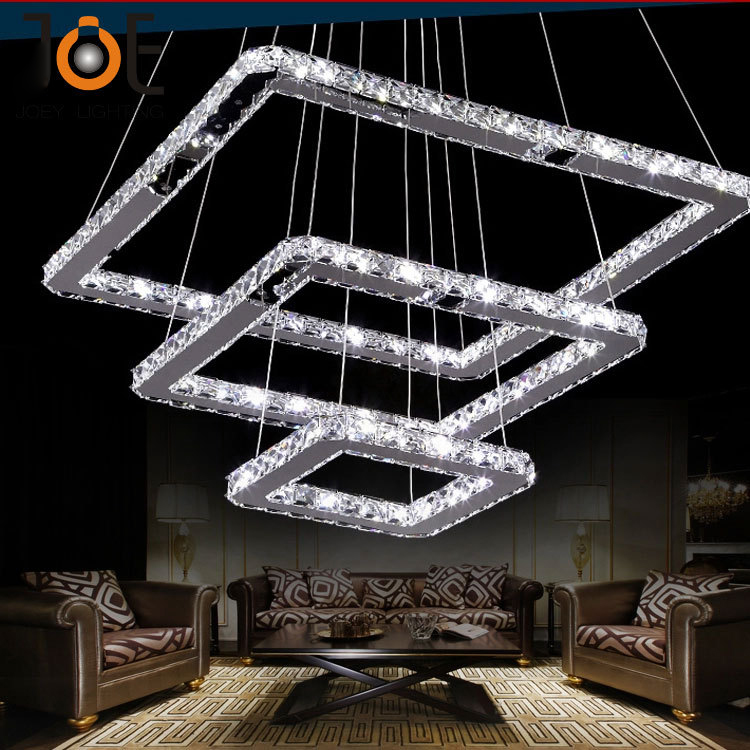 Supper thin Modern K9 Crystal LED pendant light fixture home deco dinning room square stainless steel dimable pendant lampSupper thin Modern K9 Crystal LED pendant light fixture home deco dinning room square stainless steel dimable pendant lamp