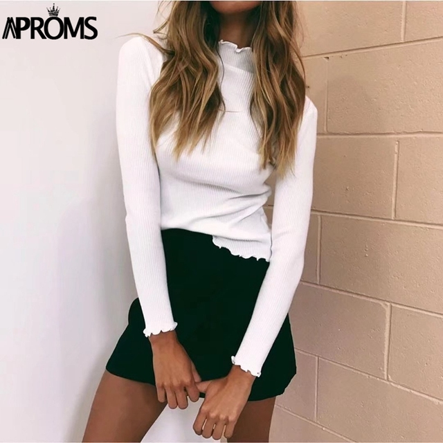 Aproms blanco cuello alto vestido suéteres mujeres sólida básica jerseys Slim Street, 2018 de punto para mujer Jersey