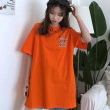 Women Half Sleeve T-Shirt 2019 New Round Collar Letter Printing Harajuku Style Streetwear Fashion T Shirt Tops Plus Size HJ235
