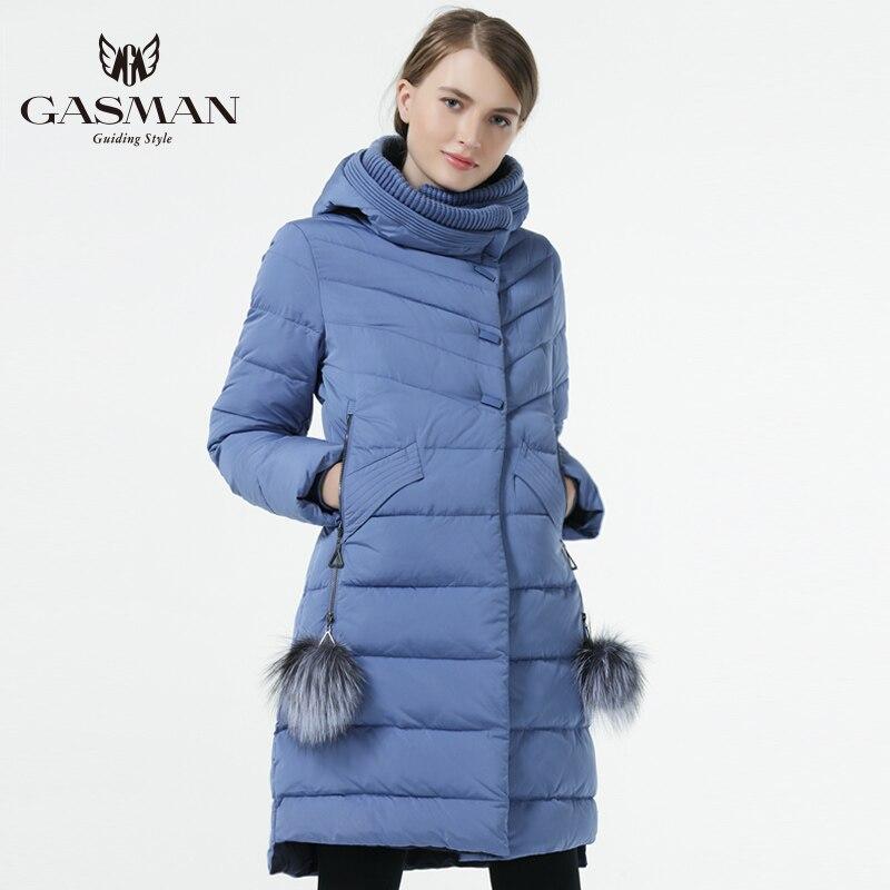 Gasman 2019 inverno mulheres para baixo casaco de comprimento médio feminino grosso quente com capuz para baixo parka à prova de vento com bola de pele natural