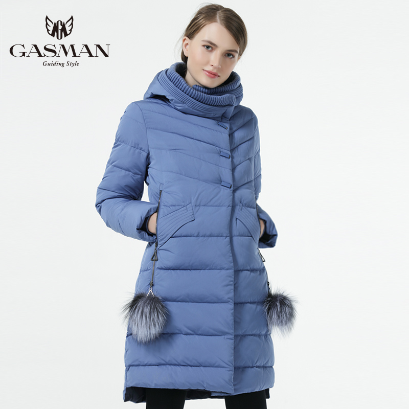 Gasman 2019 겨울 여성 다운 재킷 중간 길이 여성 두꺼운 따뜻한 후드 다운 파카 windproof overcoat 천연 모피 공-에서파카부터 여성 의류 의  그룹 1