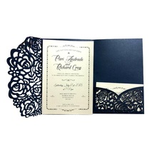 50pcs Navy Blue White Laser Cut  Wedding Business Baby shower Invitations Cards Lace Hollow Rose Birthday Greeting Card Invites