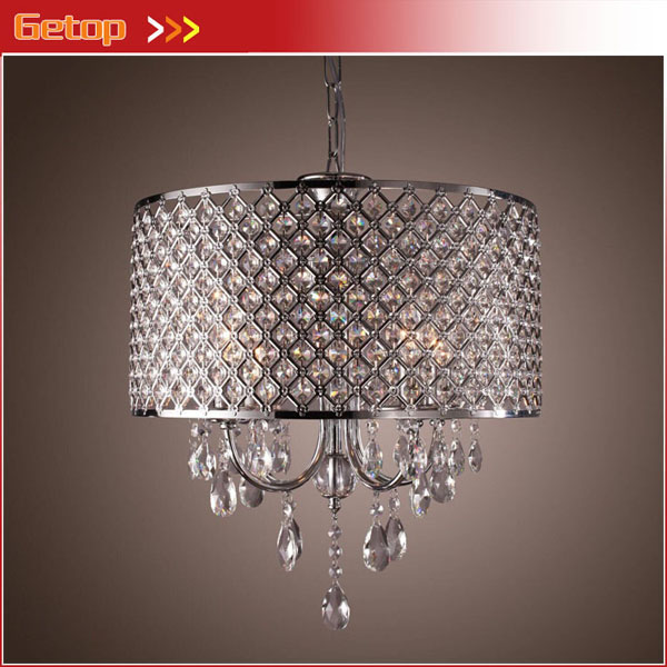 Modern 4 Lights Pendant Light with Crystal Drops in Round Lighting Fixtures for Dining Room Bedroom Living Room egypt imported crystal 8 light pendant lights in ball shape chrome pl1040