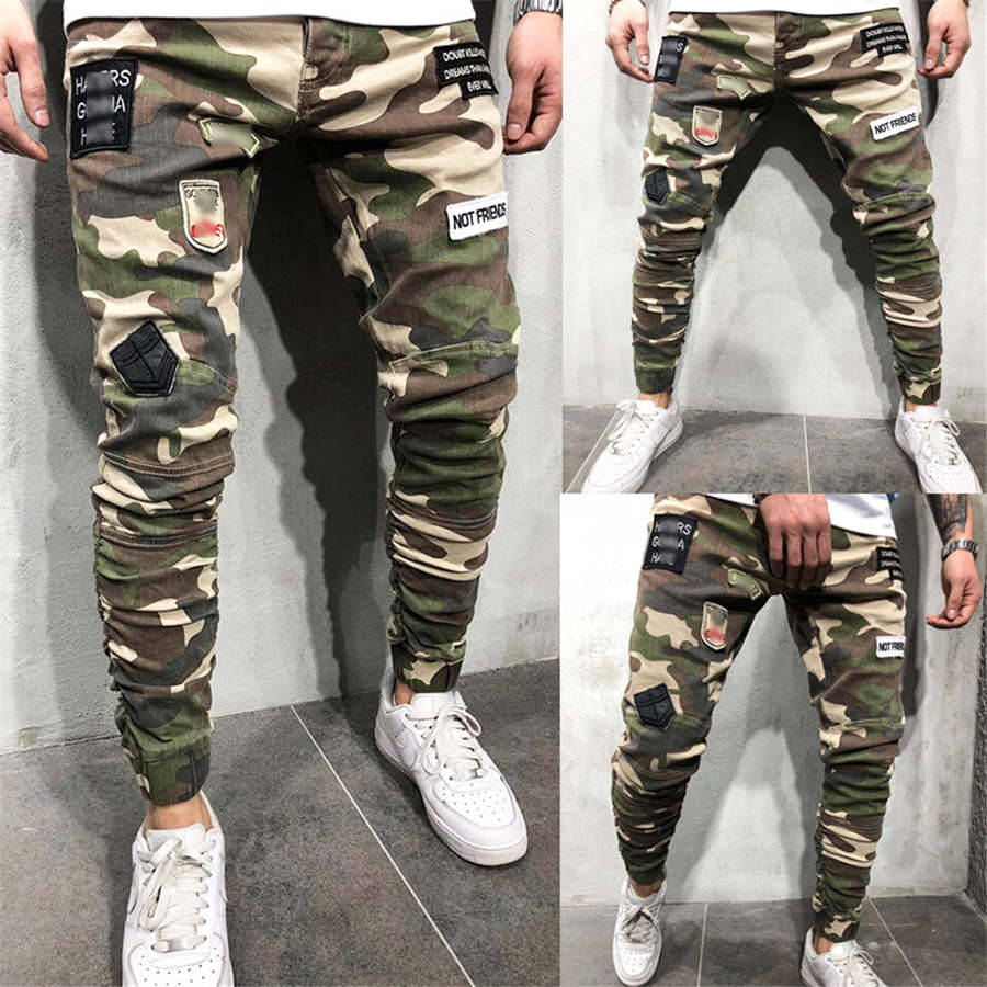 Men's Camouflage Long Pants Slim Fit Trousers Gym Run Jogger Sport Sweatpants Autumn Summer Clothes 2019 New