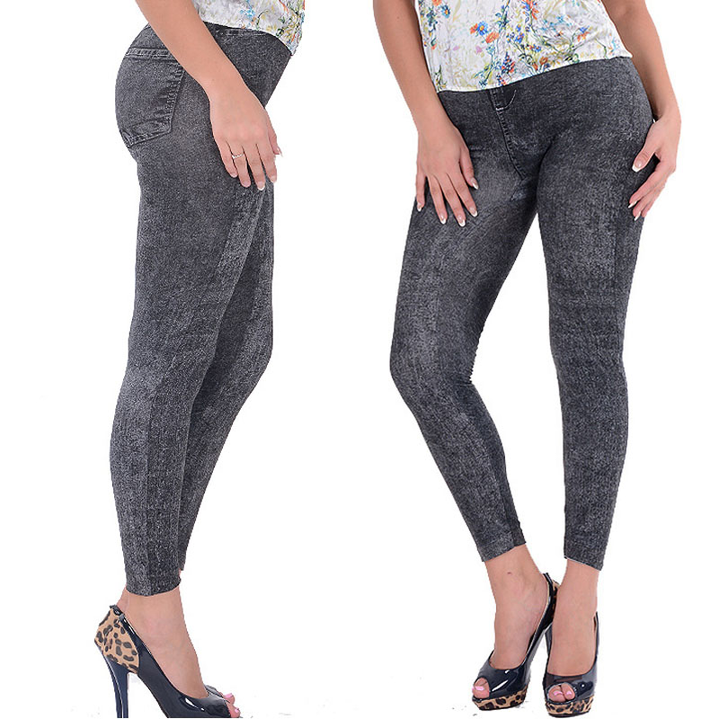 Lady Girl Black Sexy Faux   Jean   Skinny Jeggings Stretchy Slim Pants Plus Size Ankle-Length Pants Women   Jeans   with High Quality
