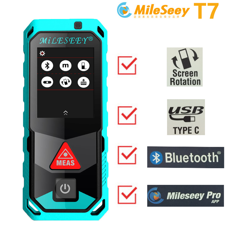 Mileseey Bluetooth  touch screen laser rangefinder With 3D Point to Point Technology laser Distance Meter free shipping
