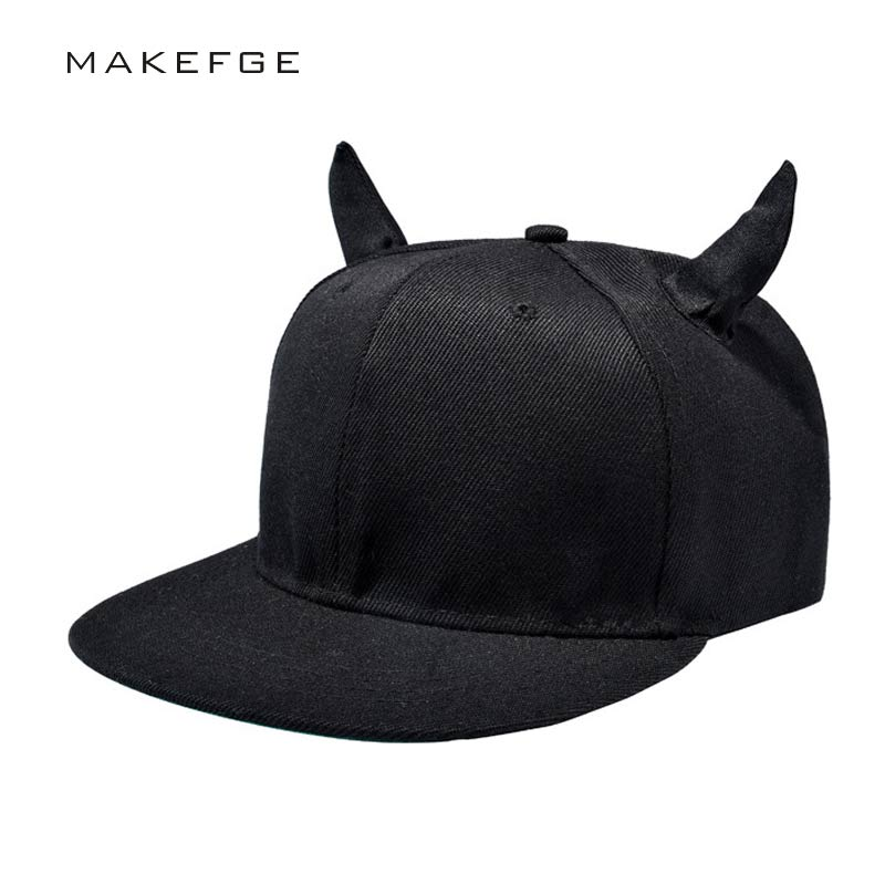 men's fashion women's   baseball     cap   black cotton hip-hop hat little devil bone bones hats snapback GOTHAM   Cap   with horns