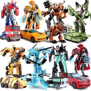 Image 2 - Top Sale 19cm Big Plastic Educational Transformation Robot  action figure toys for children boys deformation car model Toys gift