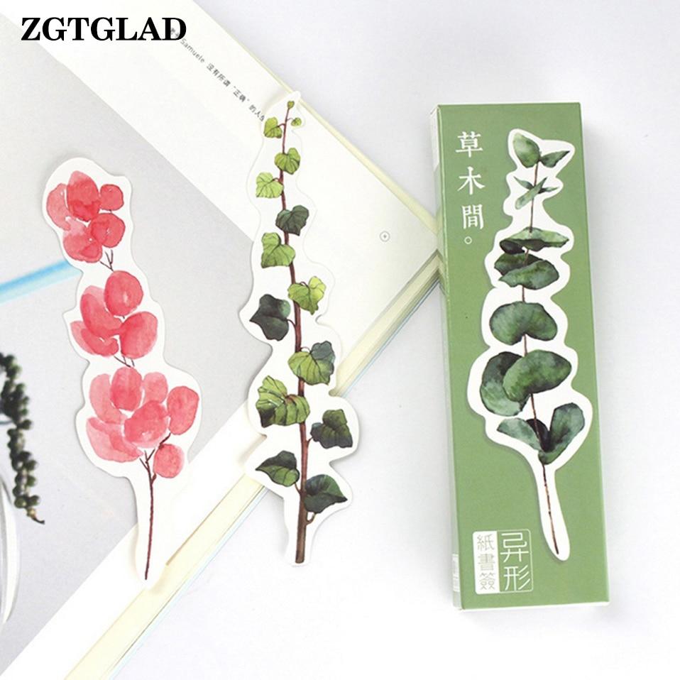 ZGTGLAD 30Pcs/box Random Style Heteromorphism Plant Paper Bookmark Stationery Bookmarks Message Card Party DIY Decoration