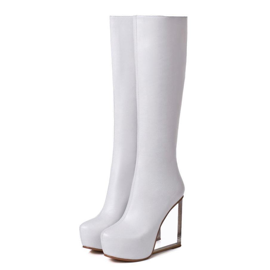 Chaussures Yifsion Bout D0615 Pointu Haute 5 À Talons Hiver Charme Femmes Taille Genou Bottes Noir Cuir Blanc Black En 9 White Coins d0615 Nous 3 Hauts 7ar7BqxO