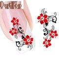 ELEGANTE Rojo DIY Flores Nail Tip Arte Trasvases Decal Etiqueta Engomada Del Clavo del arte del clavo decoraciones AUG4