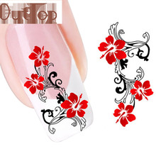 GRACEFUL DIY Red Flowers Nail Tip Art Water Transfers Decal Nail Sticker nail art decorations FREE SHIPPING AUG4