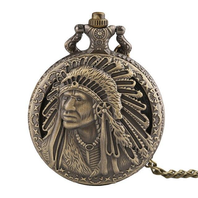 Fob Pocket Watch 3D Indians Design Quartz Pendant Clock Bronze Necklace Chain Be