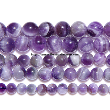 Free Shipping Natural Stone Dream Lace Color Purple Amethysts Crystals Round Loose Beads 15