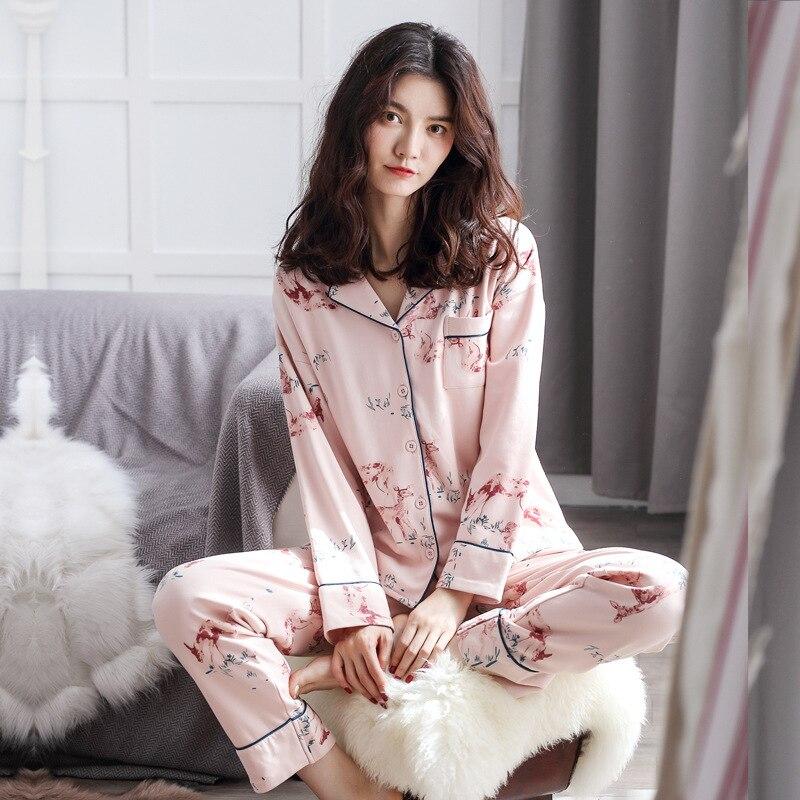 Two-piece Women's   Pajama     Sets   Pure Cotton Sika Deer Print Long Sleeve Shorts Sleepwear Female Pyjama Nightgowns Sleep Lounge