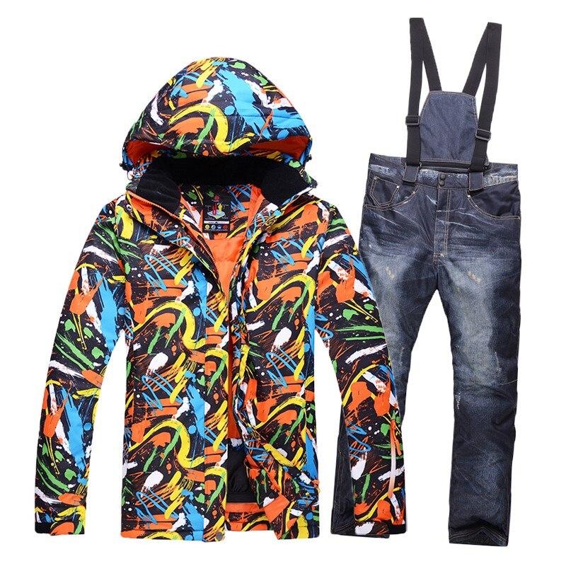 Новый Цвет печатных снег лыжный костюм Для мужчин комплекты ветрозащитный дышащий пуховые куртки для Для мужчин зимние Лыжный спорт куртка