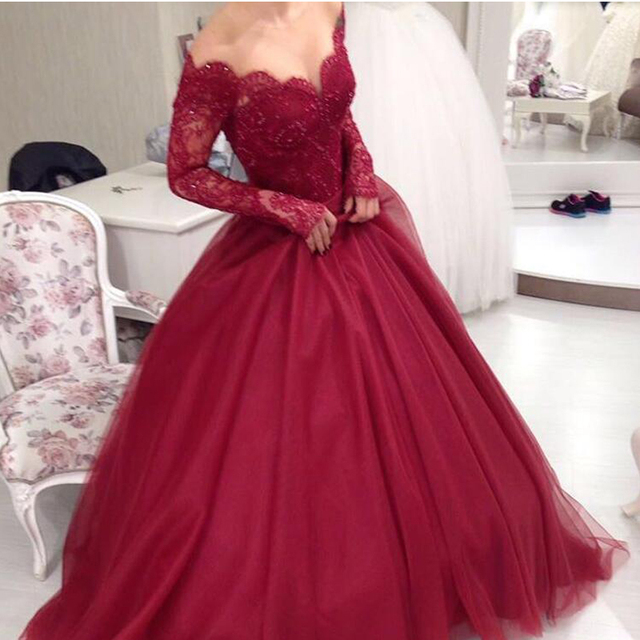 722ff9d1a766 Long Sleeves Burgundy Ball Gowns Wedding Dresses Appliques Lace Off  Shoulder Princess Wedding Gowns HD-196