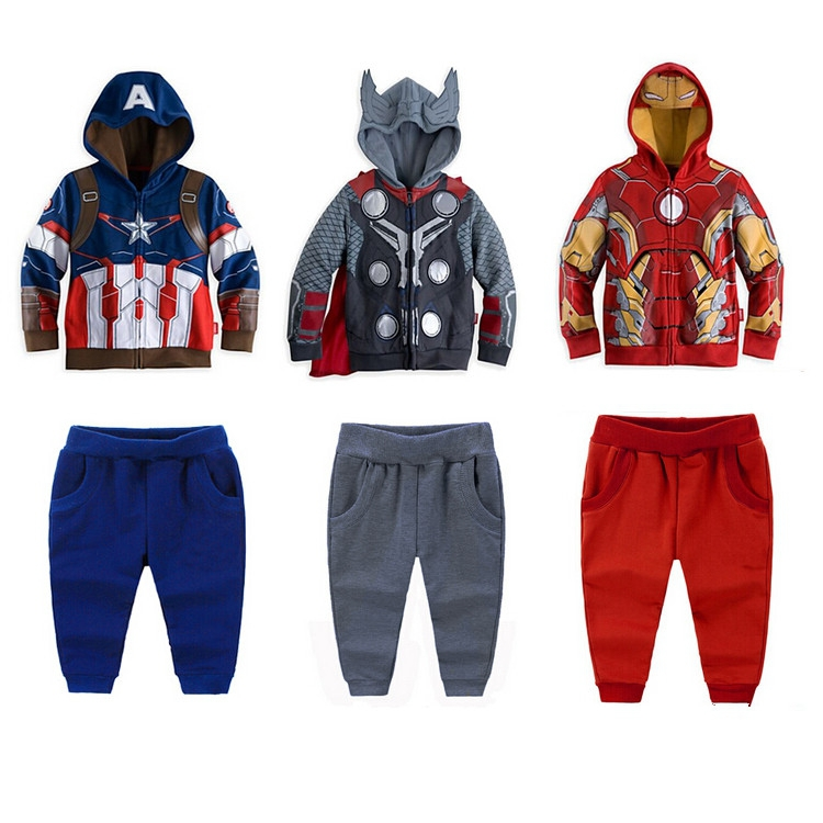 Retail New Children's the Clothing Set Baby Boys Hero Captain Boy's Hoodies Coats + Pants Kids Sport Suit Best selling!