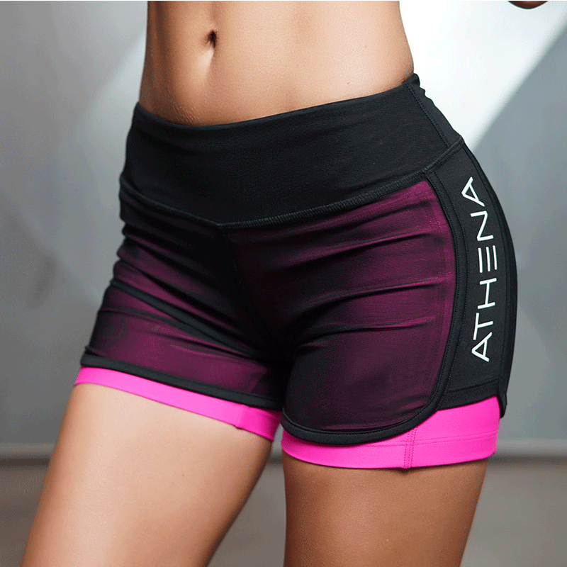 2017 High quality Summer New Women Short for Workout Fashion Casual Active Short Feminino Fake Two Breathable Shorts Women