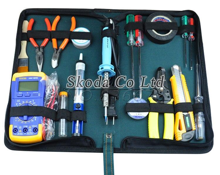 Бесплатная доставка 18 шт. семейный электрик ремонтный набор инструментов мультиметр + плоскогубцы + паяльник + тестовый карандаш + всасывающ...