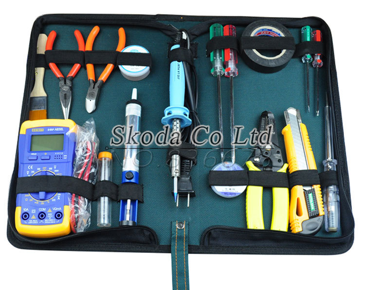 ФОТО Free shipping 18 pcs Family electrician repair tools kit Multimeter+pliers+soldering iron+Test pencil+suction-line+Suction pump~