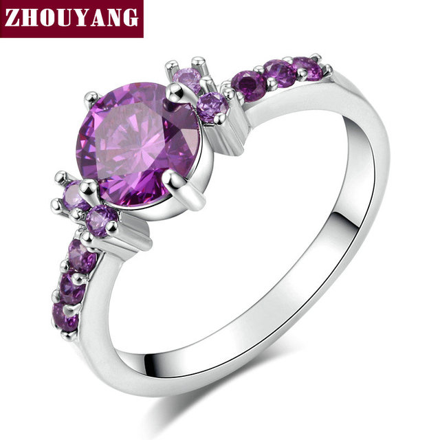 Silver Color Fashion Elegant Purple Crystal Wedding & Engagement For Women As Pr