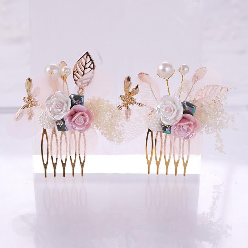Elegant Pink White Pearl Crystal Enamel Hair Comb Gold Leaf Flower Bridal Tiara Headpiece Wedding Bride Hair Jewelry Ornament SL