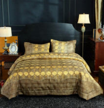 FAMVOTAR Luxury Flax Linen Bedspread High End Embossed Geometric Pattern 3 Piece Quilted Set Queen Size Golden Yellow