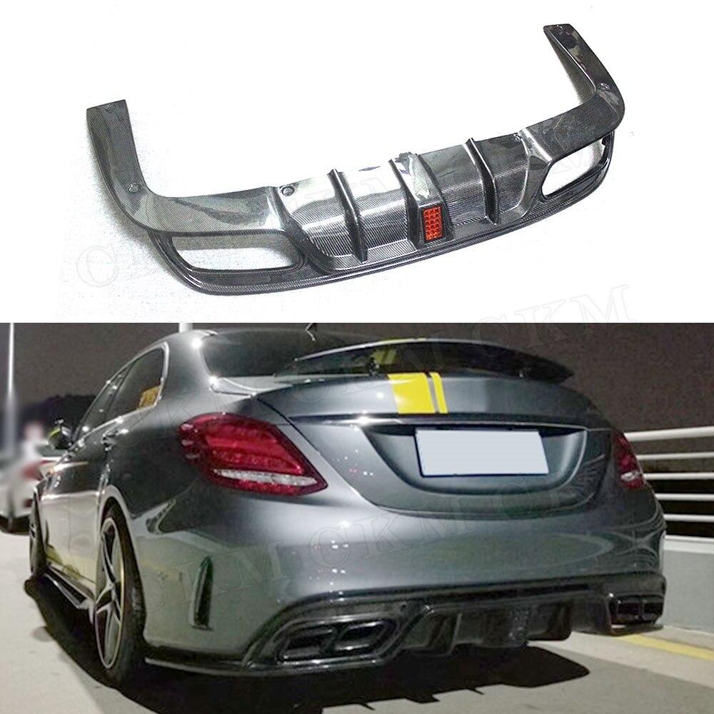 C Class Carbon Fiber Rear Bumper Lip Light Diffuser With Light For Mercedes Benz W205 C200 C300 C63 AMG 2015-2019