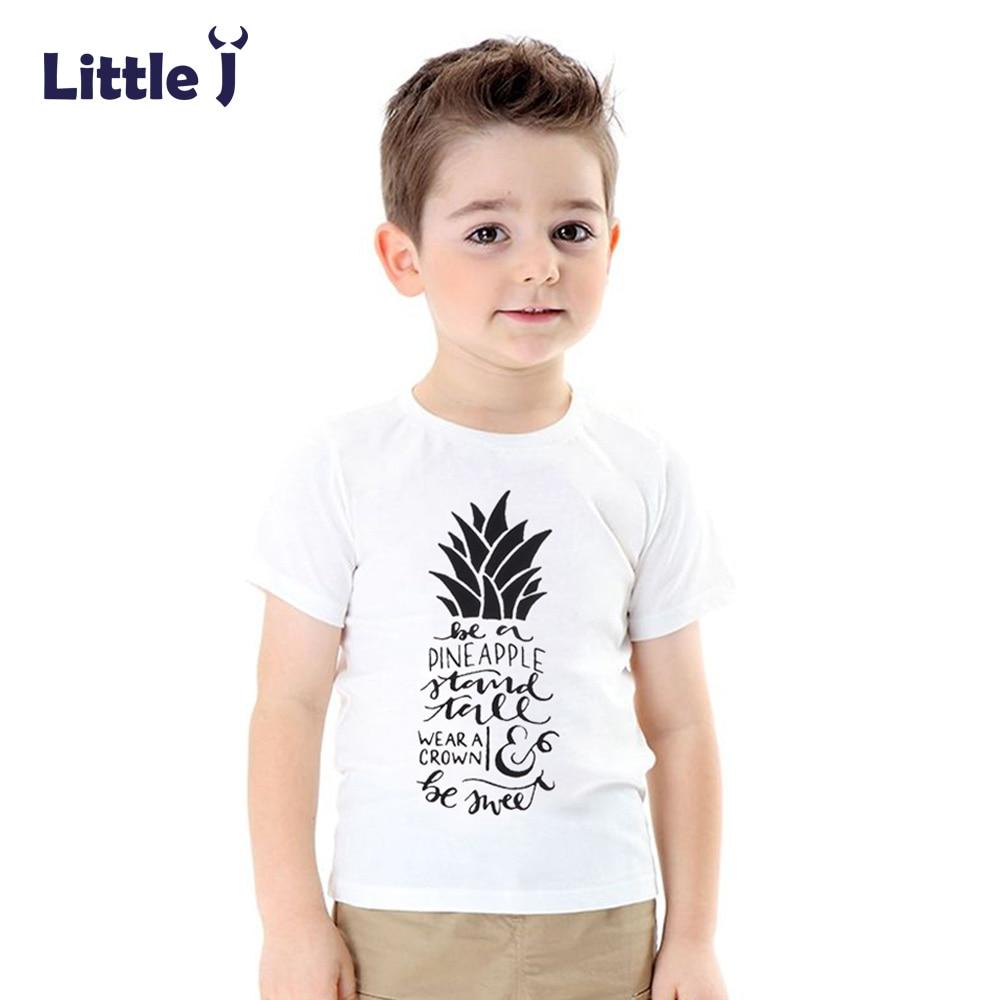 Little j summer pineapple boy t shirts short sleeve tees Boy white t shirt