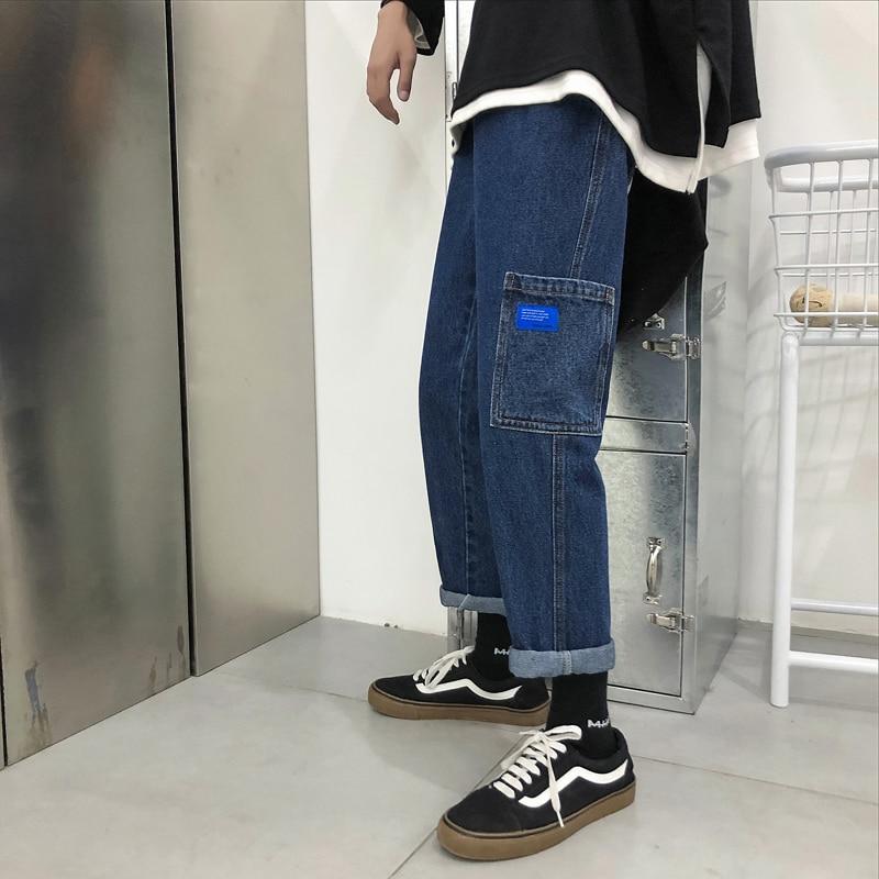 2018 allumette Jeans Casual Jeune Deep M Blue light Baggy Denim Automne Hommes Poche Blue Classique Homme Pantalon Streetwear Décorer Bleu 2xl Tout q8FOnYx