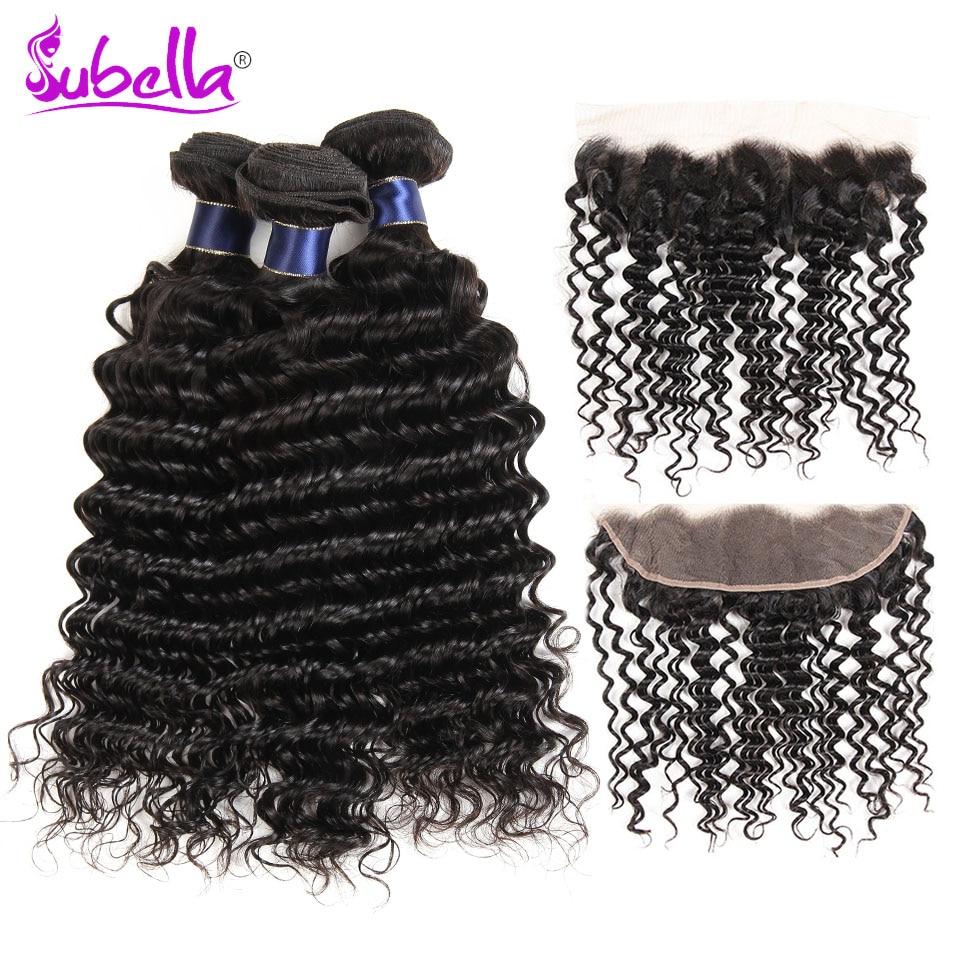 Subella Peruvian Deep Wave Hair Bundles With Frontal 100% Human Hair 4 bundles with Closure 13x4 Nonremy Hair Weave