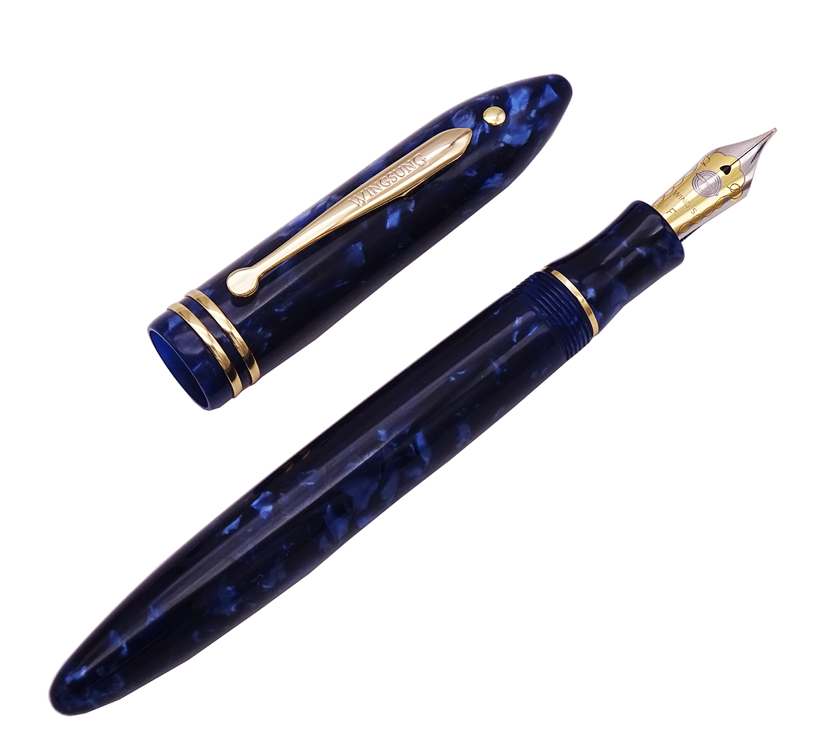 Image 2 - Wing Sung 626 Wingsung Celluloid Classic Fountain Pen Little God Dot Resin Dark Blue Iridium Fine 0.5mm Writing Gift Office Pen-in Fountain Pens from Office & School Supplies