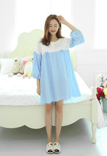 Free Shipping2016 New  summer style Cotton Nightgown cartoon Nightdress pijama Ladies Sleepwear Women nightwear AW8266