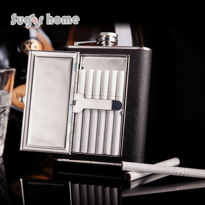Mealivos food safe 6 oz 304 Stainless steel Hip Flask Cigarette Flagon Leather Whiskey Liquor vodka